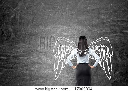 Woman With Painted Wings