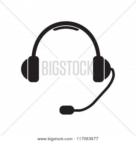 Headphone for support or service. Support Icon or sign: headphones with microphone. Vector.