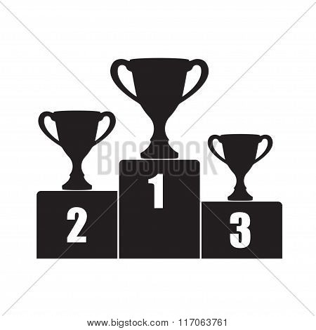 Trophy Cup on prize podium. First, second and third place award. Champions or winners icon.
