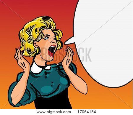 Retro Woman Screaming Love Comic Illustration