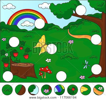 Forest Glade With A Stub, Strawberries, Butterfly, Trees, Rainbow And Flowers. Complete The Puzzle A