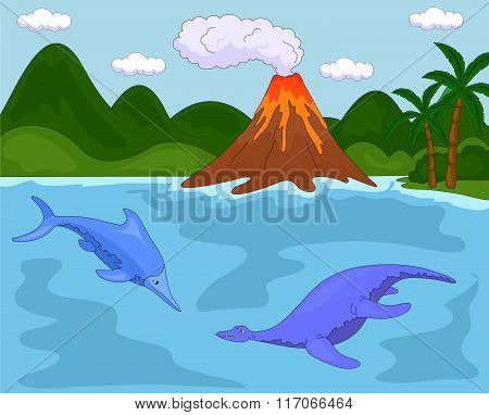 Funny Cute Ichthyosaurus And Pliosaurus On The Background Of A Prehistoric Nature