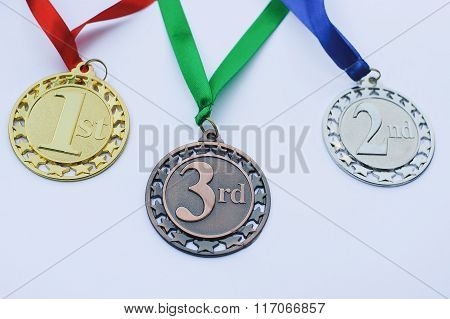 Set Of Gold, Silver And Bronze Medals.awards.