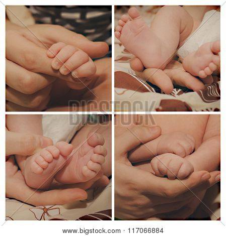 Close-up Of Baby's Hands And Feet Collage.