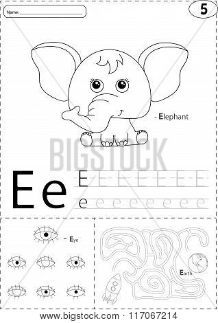 Cartoon Elephant, Eye And Earth. Alphabet Tracing Worksheet: Writing A-z And Educational Game For Ki
