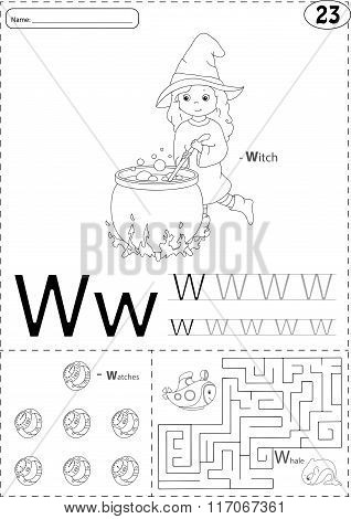 Cartoon Witch, Watches And Whale. Alphabet Tracing Worksheet: Writing A-z And Educational Game For K