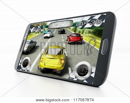 Car racing video game screen with speedmeters on the lower sides poster