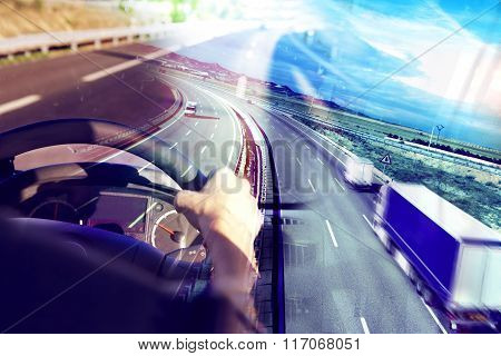Abstract Design international shipment and highway