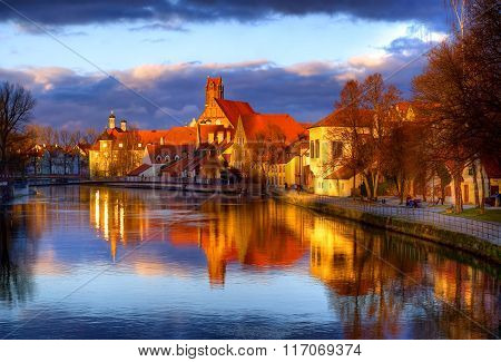 Old Gothic Town Landshut, The Former Capital Of Bavaria, On Isar River, By Munich, Germany