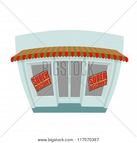 Storefront. Super Discount. Great Discount Window Shop. Funny Shop In Cartoon Style. Sales In Shop.
