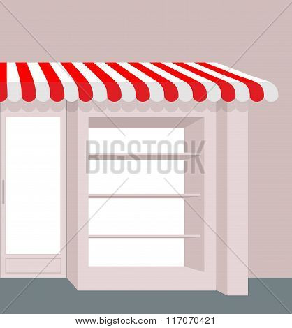Storefront With Striped Roof. Red And White Stripes Of Canopy Over Counter. Element Of  Building.