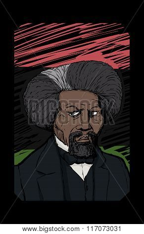 Portrait Of Frederick Douglass Over Black National Flag