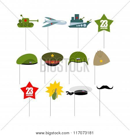 23 February. Set photo props for photographing. Paper items military accessories for photo shoot. Day of defenders of fatherland. Tank and plane. Warship and green beret. Pomegranate and whiskers. poster
