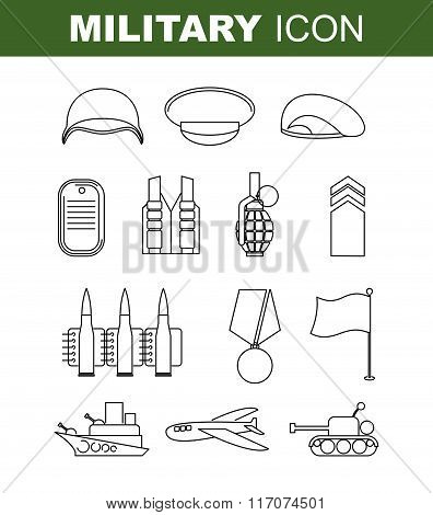 Military Line Icon. Set Army Symbol. Soldiers Helmet. Green Beret. Tank And Battleship. Medal For Br