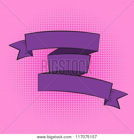 Beautiful Ribbon Label in Pop Art Style Vector Illustration