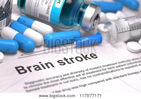 Brain Stroke Diagnosis. Medical Concept. Composition of Medicame.