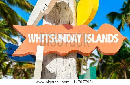Whitsunday Islands welcome sign with palm trees