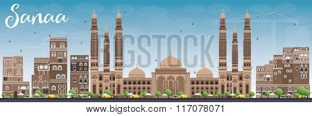 Sanaa (Yemen) Skyline with Brown Buildings and Blue Sky. Vector Illustration. Business Travel and Tourism Concept with Historic Buildings. Image for Presentation Banner, Placard and Web Site.