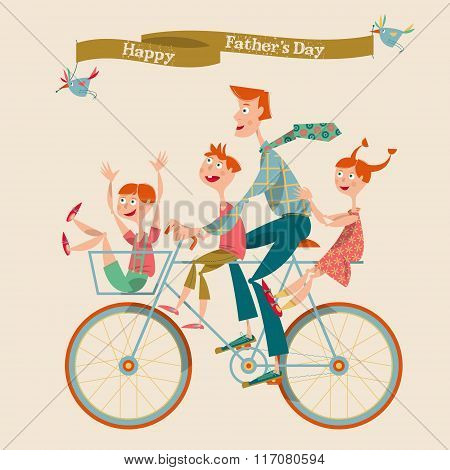 Family Enjoying Bicycle Ride. The Father With Children. Happy Father's Day.