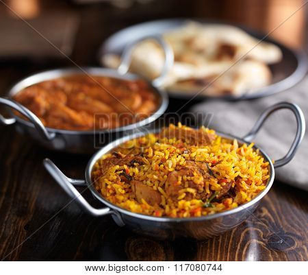 imdian food - chicken biryani in balti dish