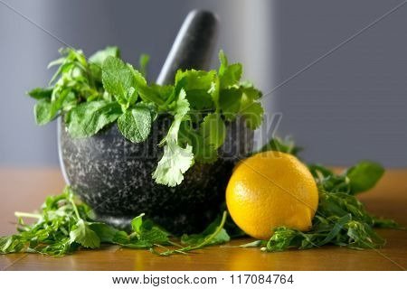 Herb Leaf Selection In A Granite Mortar With Pestle With Lemon