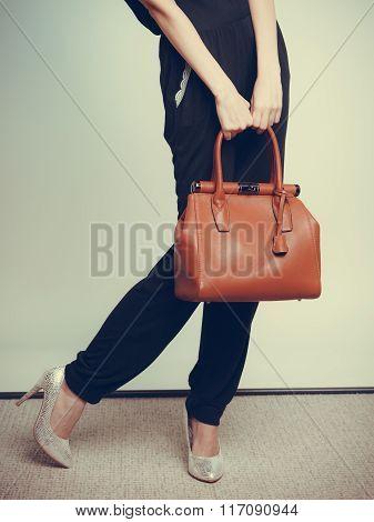 Elegant Fashion Woman With Leather Handbag