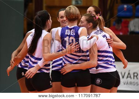 KAPOSVAR, HUNGARY - JANUARY 17: Ujpest players celebrate win at the Hungarian I. League volleyball game Kaposvar (black) vs Ujpest (white), January 17, 2016 in Kaposvar, Hungary.
