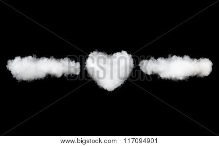 clouds and heart name template isolated on black