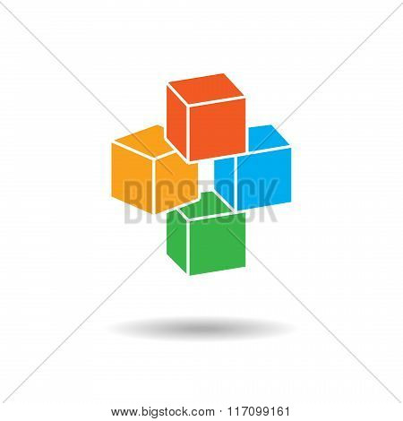 Cube three-dimensional icon. Perspective view. Four blocks composition. Infographics, logo symbol wi
