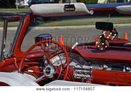 Dash of a classic 1958 Ford Convertible
