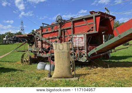 Threshing scene during harvest