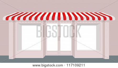 Showcase Shop. Rose Shop Building. Striped Awning Store. Facade Of New Store. Windows And Doors.