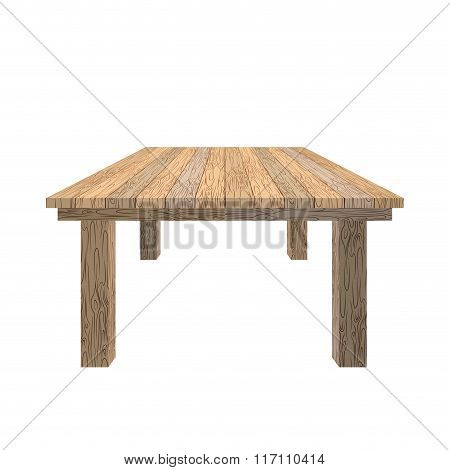 Wooden Table. Tabletop Wood Texture. Old Desk On White Background. Piece Of Furniture From Wood Of L