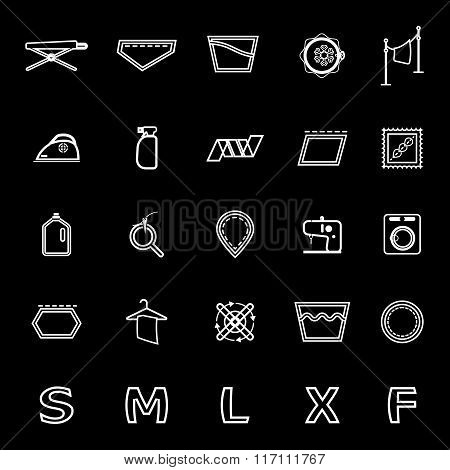 Cloth Care Sign And Symbol Line Icons On Black