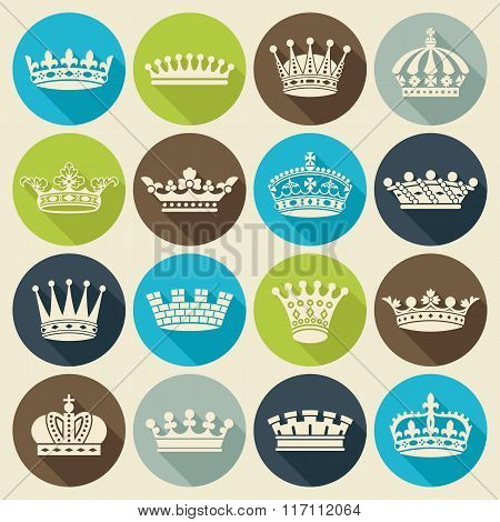 Set Of Crowns Flat Icons