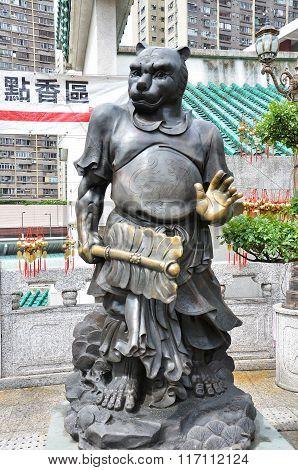 Hong Kong, China - June 25, 2014: Chinese Zodiac Bronze Tiger Stature At Sik Sik Yuen Wong Tai Sin T