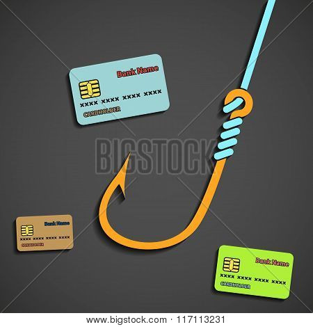 Fishhook And Bank Cards.