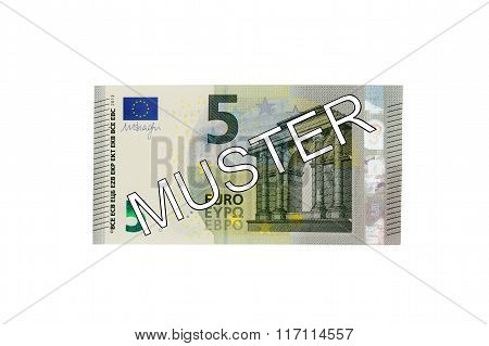 Money - Five (5) Euro Bill Banknote Front With German Lettering Muster (specimen)