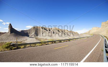Panoramic Photo Of A Desert Road, Utah, Usa