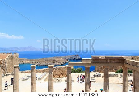 Columns in Acropolis of Lindos in Rhodes Greece