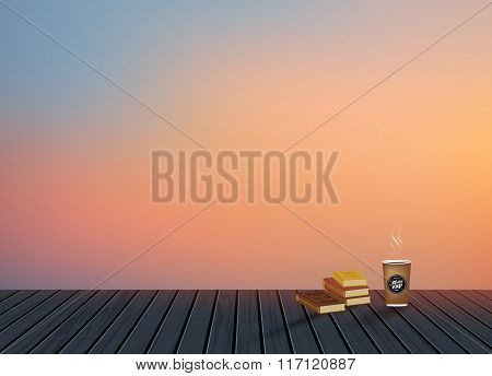 Relax,Vacation time,Holiday,wooden texture floor with evening skyline natural scenery background