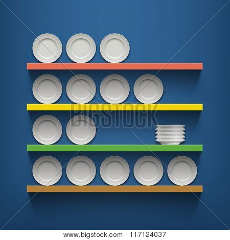 White Plates Are On The Shelves.