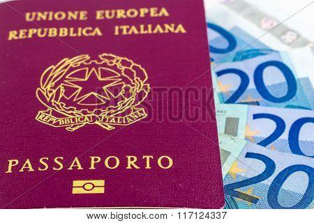 Italian Passport On Some Banknotes Of Twenty Euro