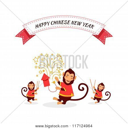 New Year Background with Monkey