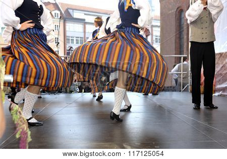 The Latvian national dances on a holiday in Riga