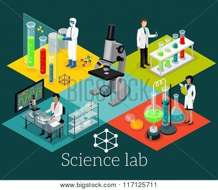 Science Lab Isomatric Design Flat