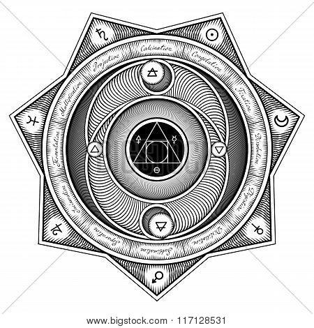 Alchemical Symbols Interaction Sheme - Vector Illustration Stylized As Engraving