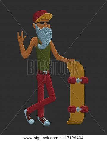 Bearded Old Man With Skateboard