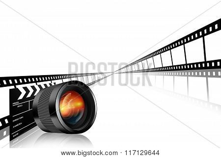 Photographic Lens Clap Board And Film Strip On White