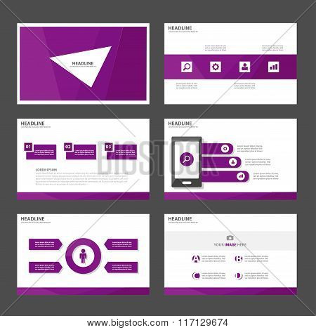 purle presentation templates Infographic elements flat design set